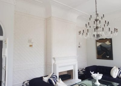 Fibrous Plaster Custom Wall with Fire Surround